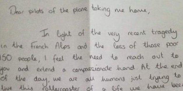 Diesen berührenden Brief schrieb eine Passagierin an einen Piloten
