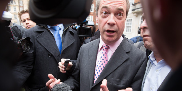 Nigel Farage kick starts his election campaign by launching a UKIP poster in central London.