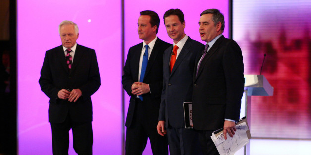 Election debate moderator David Dimblebly (far left), stands with Conservative Party leader David Cameron (second left) Liberal Democrat leader Nick Clegg (second right) and Prime Minister Gordon Brown, following the final live leaders' election debate, hosted by the BBC in the Great Hall of Birmingham University.