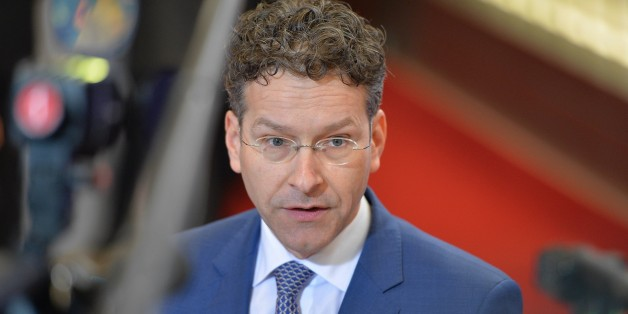 BRUSSELS, BELGIUM - FEBRUARY 20: Dutch Finance Minister and president of Eurozone Jeroen Dijsselbloem speaks to media ahead of an emergency meeting of Eurozone finance ministers to discuss the Greece bailout program at the European Council in Brussels on February 20, 2015. (Photo by Dursun Aydemir/Anadolu Agency/Getty Images)