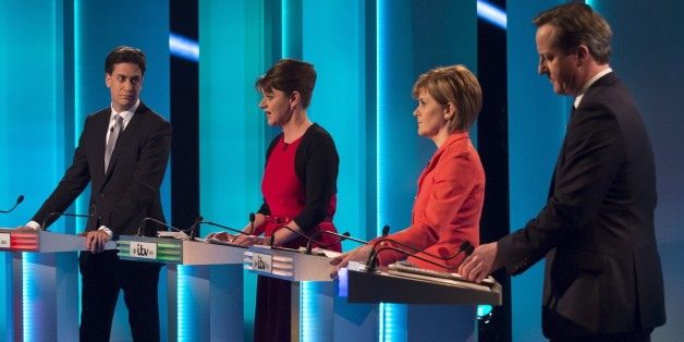 SALFORD, ENGLAND - APRIL 2: (EDITORIAL USE ONLY. NO MERCHANDISING. NO ARCHIVE AFTER MAY 02, 2015)  In this handout provided by ITV, (L-R): Labour leader Ed Miliband, Plaid Cymru leader Leanne Wood, Scottish National Party leader Nicola Sturgeon and British Prime Minister and Conservative leader David Cameron take part in the ITV Leader's Debate 2015 at MediaCityUK studios on April 2, 2015 in Salford, England. Tonight sees a televised leaders election debate between the seven political party leaders. The debate will be the only time that David Cameron and Ed Miliband will face each other before polling day on May 7th.  (Photo by Ken McKay/ITV via Getty Images)