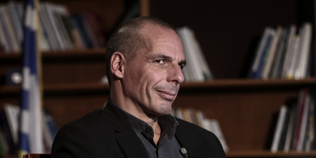 Yanis Varoufakis, Greece's finance minister, waits for the start of a Bloomberg Television interview at his office in Athens, Greece, on Wednesday, Feb. 25, 2015. Varoufakis said he's counting on the European Central Bank to help the country avert default when it runs out of money next month, while bank deposits are also starting to flow back. Photographer: Yorgos Karahalis/Bloomberg via Getty Images