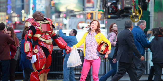 NEW YORK, NY - MARCH 27:  Tituss Burgess and Ellie Kemper on the set of 'The Unbreakable Kimmy Schmidt' on March 27, 2014 in New York City.  (Photo by Steve Sands/GC Images)