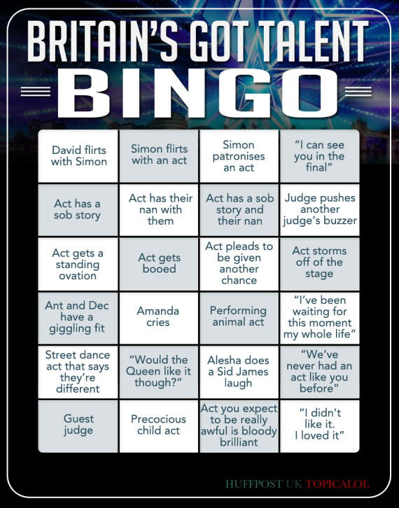 britains got talent bingo card