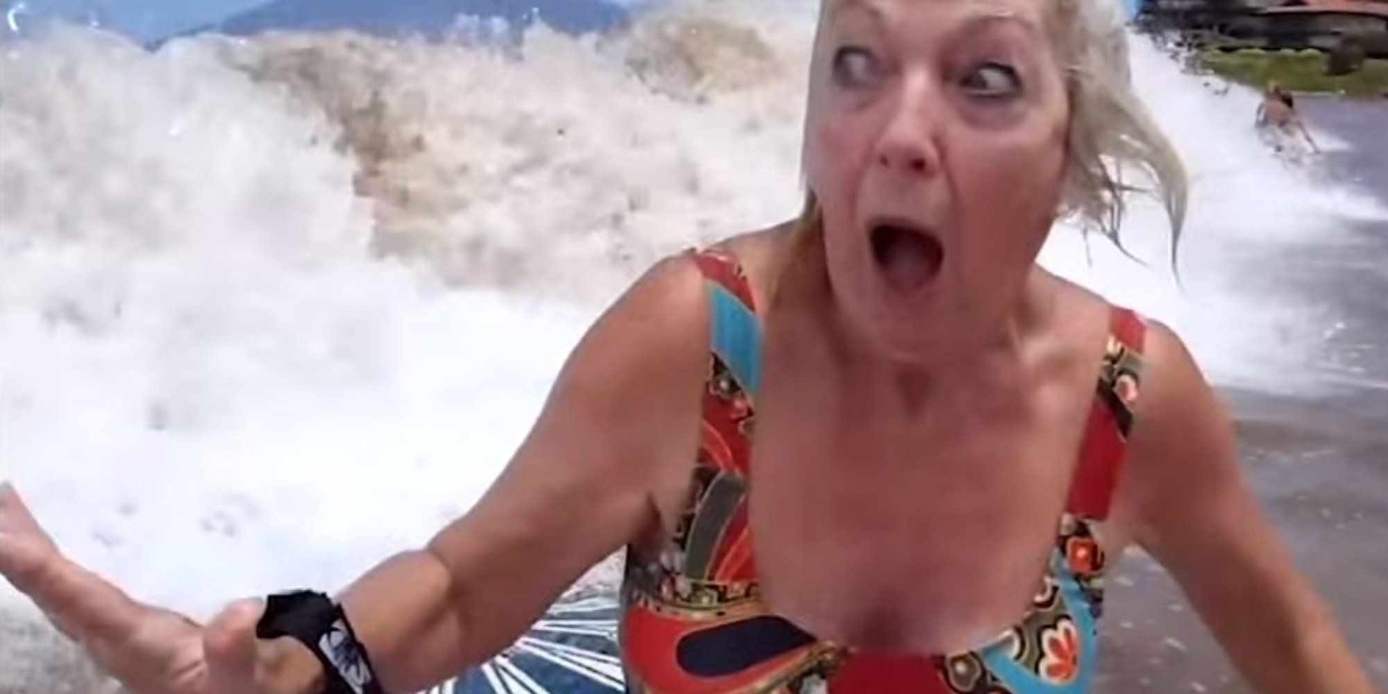 Boogie Boarding Grandma Wipes Out Can T Help But Laugh
