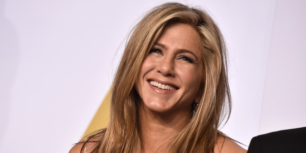 Jennifer Aniston poses in the press room at the Oscars on Sunday, Feb. 22, 2015, at the Dolby Theatre in Los Angeles. (Photo by Jordan Strauss/Invision/AP)