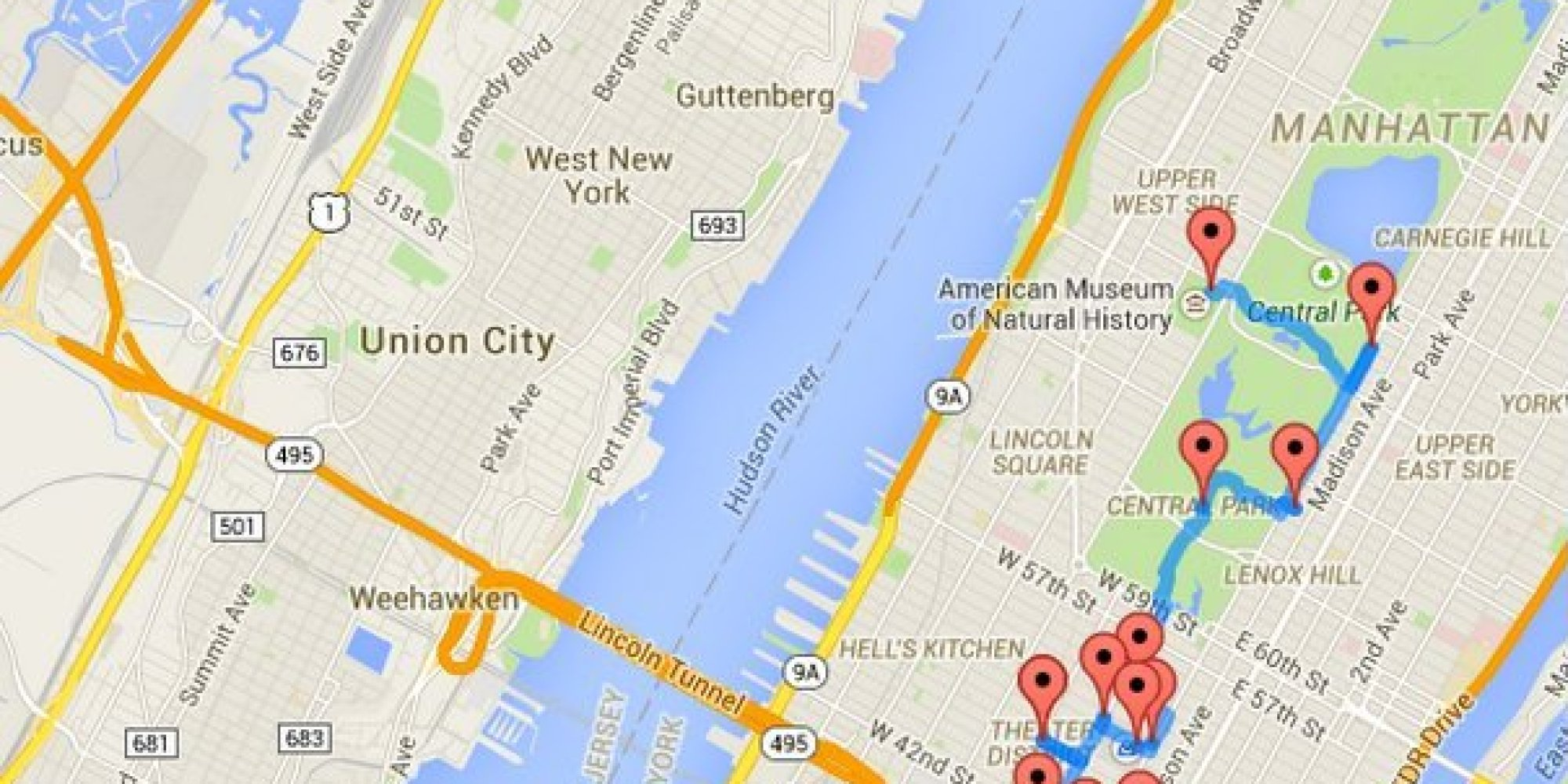 Manhattan attractions map