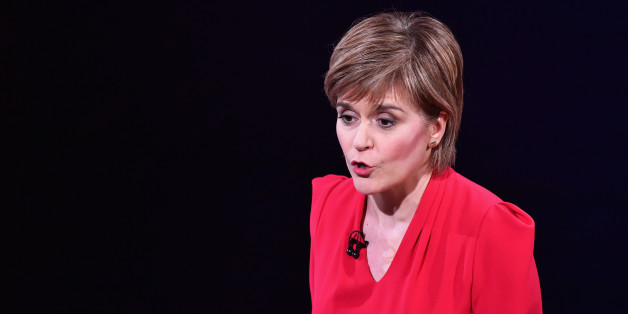 EDINBURGH, SCOTLAND - APRIL 07:  First Minister and SNP leader Nicola Sturgeon speaks during the Scottish Television Debate at the Assembly Rooms on April 7, 2015 in Edinburgh, Scotland. Moderated by STV political editor Bernard Ponsonby, tonight's live televised debate will be the first time the public have had the chance to see the major party leaders in Scotland go head to head.  (Photo by Jeff J Mitchell/Getty Images)