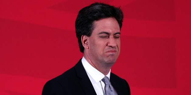 LONDON, ENGLAND - APRIL 09:  Labour leader Ed Miliband leaves the lecturn after making a speech as he launches his party's education manifesto on April 9, 2015 in London, England. The manifesto was launched as the election campaign entered its second week.  (Photo by Carl Court/Getty Images)