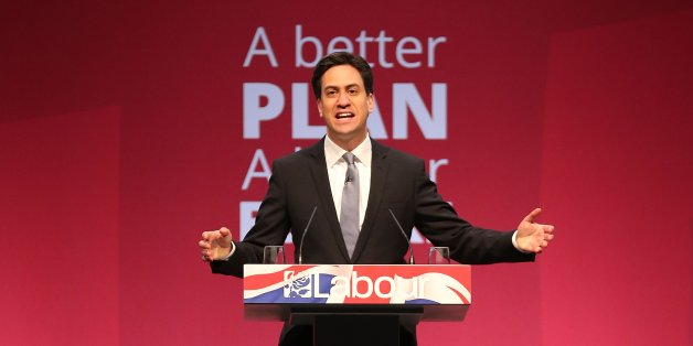 MANCHESTER, ENGLAND - APRIL 13:  Labour leader Ed Miliband addresses supporters during the party's launch of it's 2015 election manifesto at the Old Granada TV studios on April 13, 2015 in Manchester, England. Ed Miliband pledged a Labour government would cut the deficit every year and that no additional borrowing would be needed to fund their policies.  (Photo by Christopher Furlong/Getty Images)