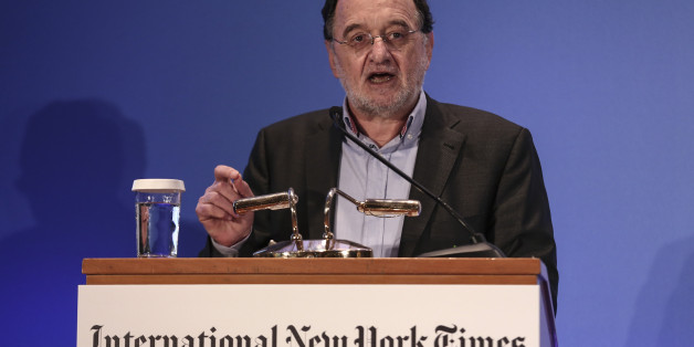 "Greece's energy and environment minister Panagiotis Lafazanis addresses the audience during an energy conference in Athens, on Wednesday, March 11, 2015. Lafazanis said his new government is ""radically opposed"" to the privatization of ""strategic sectors and businesses,"" particularly in the energy and infrastructure sectors.  (AP Photo/Yorgos Karahalis)"