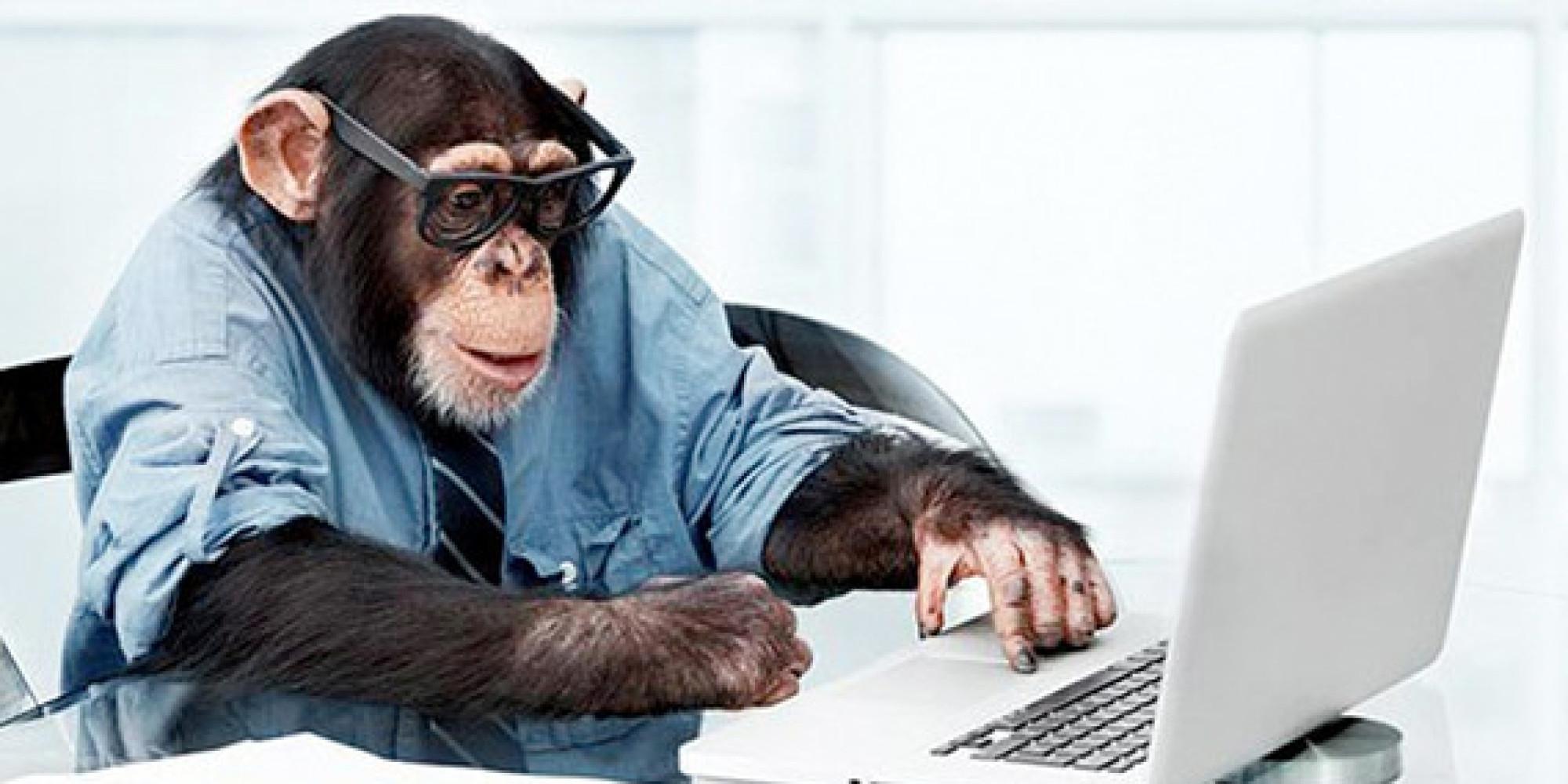 Фото офисных работников с приколом в роле обезьян 5