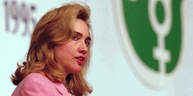 First Lady Hillary Rodham Clinton addresses a special session of the Fourth World Conference on Women in Beijing Tuesday, September 5, 1995. Mrs. Clinton made a call for human rights and freedom of expression and said that it was indefensible that many women who registered for the conference were denied visas or were unable to fully participate. (AP Photo/Doug Mills)