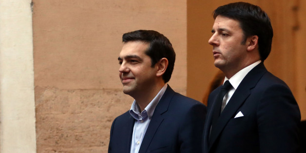 ROME, ITALY - FEBRUARY 03:  Italian Prime Minister Matteo Renzi meets newly elected Greece's Prime Minister Alexis Tsipras at Palazzo Chigi on February 3, 2015 in Rome, Italy. Leftist Prime Minister Alexis Tsipras his touring Europe this week to build support for a renegotiation of the huge bailout, over strong opposition from Germany.  (Photo by Franco Origlia/Getty Images)