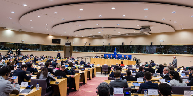 "Dutch Finance Minister and the head of the eurogroup Jeroen Dijsselbloem, center back, attends a meeting of the Committee on Economic and Monetary Affairs at the European Parliament in Brussels on Tuesday, Feb. 24, 2015. An official at the European Union's executive branch said Tuesday that the list of Greek reform measures for final approval of the extended rescue loans ""is sufficiently comprehensive to be a valid starting point."" Dijsselbloem said that he received the list last night and that ""it is being assessed at the moment by the institutions."" (AP Photo/Geert Vanden Wijngaert)"