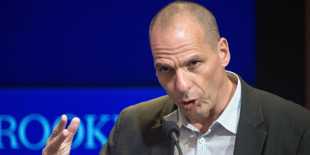 Greek Finance Minister Yanis Varoufakis delivers remarks at the Brookings Institute April 16, 2015, in Washington, DC.       AFP PHOTO/PAUL J. RICHARDS        (Photo credit should read PAUL J. RICHARDS/AFP/Getty Images)