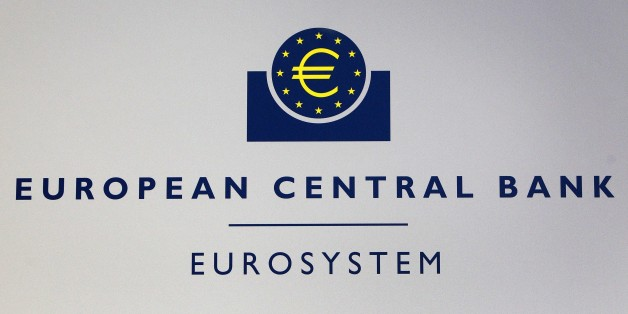 The Euro logo of the European Central Bank (ECB) is pictured on the sidelines of a press conference following the meeting of the bank's Governing Council in Frankfurt am Main, western Germany, on April 15, 2015. Mario Draghi, President of the European Central Bank, said that there was 'clear evidence' that the bank's monetary policy measures were 'effective' and the ECB would ensure they were implemented fully.  AFP PHOTO / DANIEL ROLAND        (Photo credit should read DANIEL ROLAND/AFP/Getty Images)