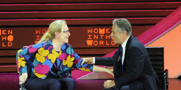 NEW YORK, NY - APRIL 22:  Actress Meryl Streep and host Jon Stewart appear onstage during the Women In World Summit at the David H. Koch Theater at Lincoln Center on April 22, 2015 in New York City.  (Photo by Andrew Toth/Getty Images)