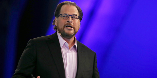 Salesforce CEO Marc Benioff delivers a keynote address during the 2014 DreamForce conference on October 14, 2014 in San Francisco, California. Benioff is conducting a review in his company to make sure women are paid equally to men. (Photo by Justin Sullivan/Getty Images)