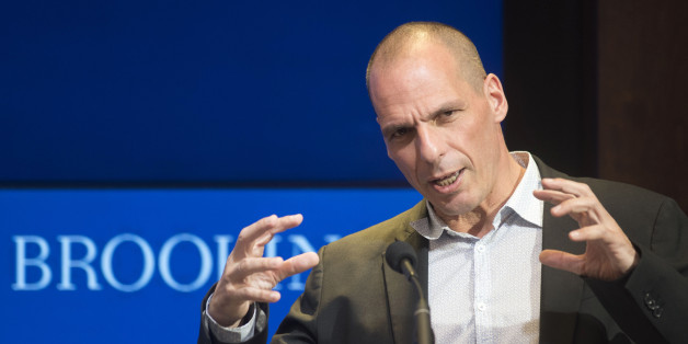 Greek Finance Minister Yanis Varoufakis speaks at the Brookings Institution in Washington, Thursday, April 16, 2015. (AP Photo/Kevin Wolf)