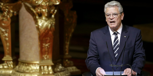 German President Joachim  Gauck delivers a speech after an ecumenical service remembering the Armenian slaughter at the Berlin Cathedral Church in Berlin, Germany, Thursday, April 23, 2015. On Friday, April 24, Armenians will mark the centenary of what historians estimate to be the slaughter of up to 1.5 million Armenians by Ottoman Turks, an event widely viewed by scholars as genocide. Turkey, however, denies the deaths constituted genocide and says the death toll has been inflated. (AP Photo/M