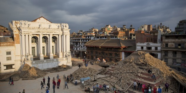 A general view of the Basantapur Durbar Square that was damaged in Saturday's earthquake in Kathmandu, Nepal, Sunday, April 26, 2015. The earthquake centered outside Kathmandu, the capital, was the worst to hit the South Asian nation in over 80 years. It destroyed swaths of the oldest neighborhoods of Kathmandu, and was strong enough to be felt all across parts of India, Bangladesh, China's region of Tibet and Pakistan.(AP Photo/Bernat Armangue)