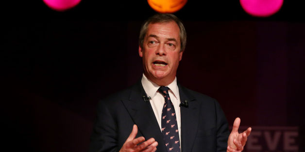 Ukip Leader Nigel Farage delivers a speech at a meeting in Purfleet, Essex, following a day of campaigning in the county for the upcoming general election.
