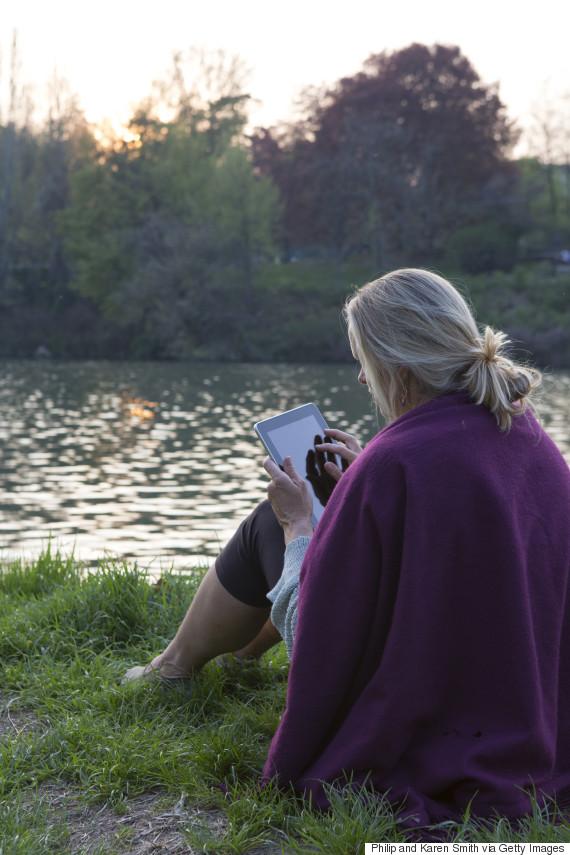 woman sitting sunset