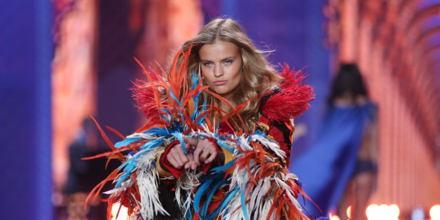 Model Kate Grigorieva displays a creation at the Victoria's Secret fashion show in London, Tuesday, Dec. 2, 2014. (Photo by Joel Ryan/Invision/AP)