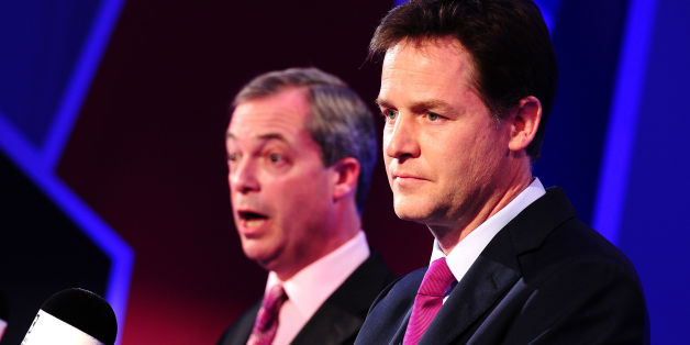 """File photo dated 26/03/14 of Deputy Prime Minister Nick Clegg (right) and Ukip leader Nigel Farage, as Clegg has claimed Ukip is """"just a movement of angry blokes"""" trying to become a political party."""