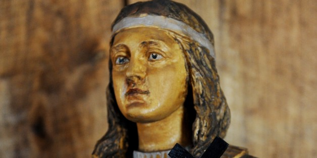 A wooden statue of Kateri Tekakwitha, a 17th century Mohawk woman who the Vatican will canonize later this year, seen in St. Peter's Chapel at the National Kateri Shrine in Fonda, New York. Kateri will become the first Native American saint in the Catholic church. AFP PHOTO/Stan HONDA (Photo credit should read STAN HONDA/AFP/Getty Images)