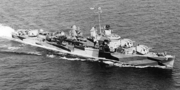 The U.S. Navy destroyer USS Maddox, which was attacked by North Vietnamese torpedoes and gunfire off Vietnam in the Gulf of Tonkin incident, August 1964. (AP Photo/DOD)