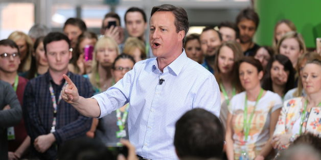 Prime Minister David Cameron during a PM Direct question and answer session with employees at Asda's head office in Leeds.