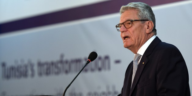 German President Joachim Gauck delivers a speech during a conference titled 'Tunisia's transformation- Cooperating with the neighbours' held at the Carthage Palace in Tunis, on April 28, 2015. Gauck is on a three-day official visit. AFP PHOTO / FETHI BELAID        (Photo credit should read FETHI BELAID/AFP/Getty Images)