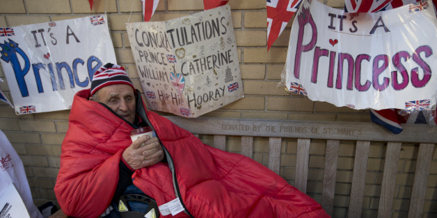 Royal fan Terry Hutt enjoys a hot drink as he celebrates his 80th birthday outside the Lindo Wing of  St Mary's Hospital, as he continues his vigil waiting for Kate, Duchess of Cambridge to arrive at the hospital, in London, Thursday, April, 30, 2015. Kate is due to give birth late April to her second child, at St Mary's. (AP Photo/Alastair Grant)