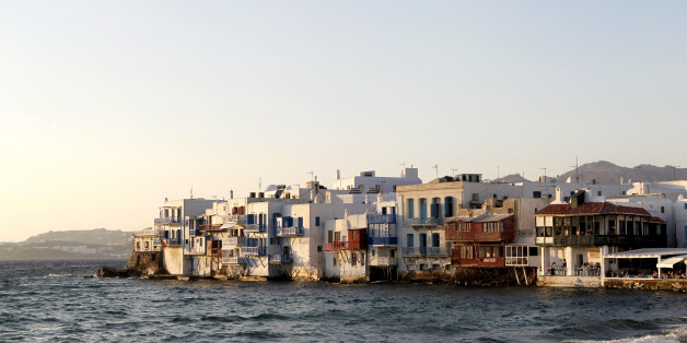 MYKONOS, GREECE - JUNE 29 2013: little Venice at the port of Chora the capital on June 29, 2013 in Mykonos Island, Greece. (Photo by Athanasios Gioumpasis/Getty Images)