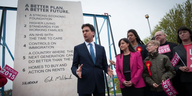 Ed Miliband unveils Labour's pledges carved into a stone plinth in Hastings during last year's General Election campaigning