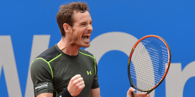 Britain's Andy Murray celebrates after winning the final match against Germany's Philipp Kohlschreiber at the BMW Open tennis tournament in Munich, Germany, Monday, May. 4, 2015. Murray won with 7-6, 5-7 and 7-6. (AP Photo/Kerstin Joensson)