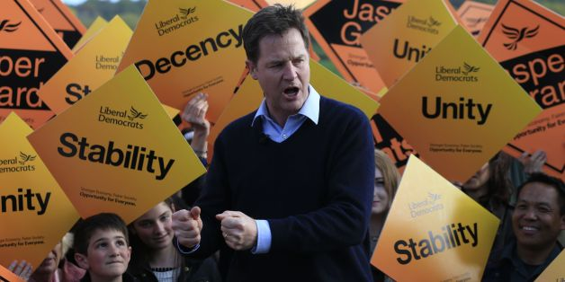 Liberal Democrat Party leader Nick Clegg delivers a speech to supporters during a visit to Hush Heath Winery in Staplehurst, Kent whilst on the General Election campaign trail.