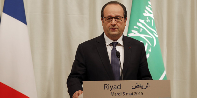 French President Francois Hollande delivers a speech during a press conference in Riyadh, Saudi Arabia, Tuesday, May 5, 2015. Hollande is the guest of honor of the Gulf cooperation council summit in Riyadh, where security issues in the region are going to be discussed. (AP Photo/Christophe Ena, Pool)