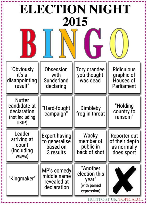 general election night bingo card