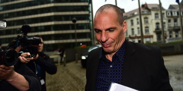 Greek Finance Minister Yanis Varoufakis arrives at the European Commission to meet with European Commissioner for Economic and Financial Affairs, Taxation and Customs, on May 5, 2015 in Brussels. AFP PHOTO / EMMANUEL DUNAND        (Photo credit should read EMMANUEL DUNAND/AFP/Getty Images)