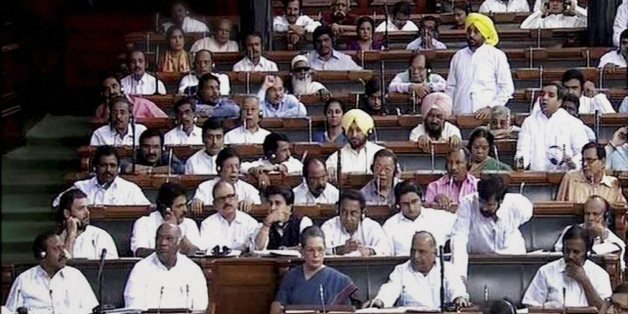 During the voting for GST bill in Parliament on Wednesday.