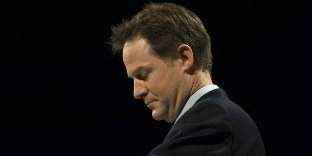 Deputy Prime Minister Nick Clegg delivers the leaders speech during the Liberal Democrat Spring Conference at the Barbican Centre, York.