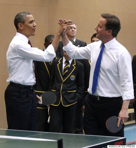 barack obama david cameron high five