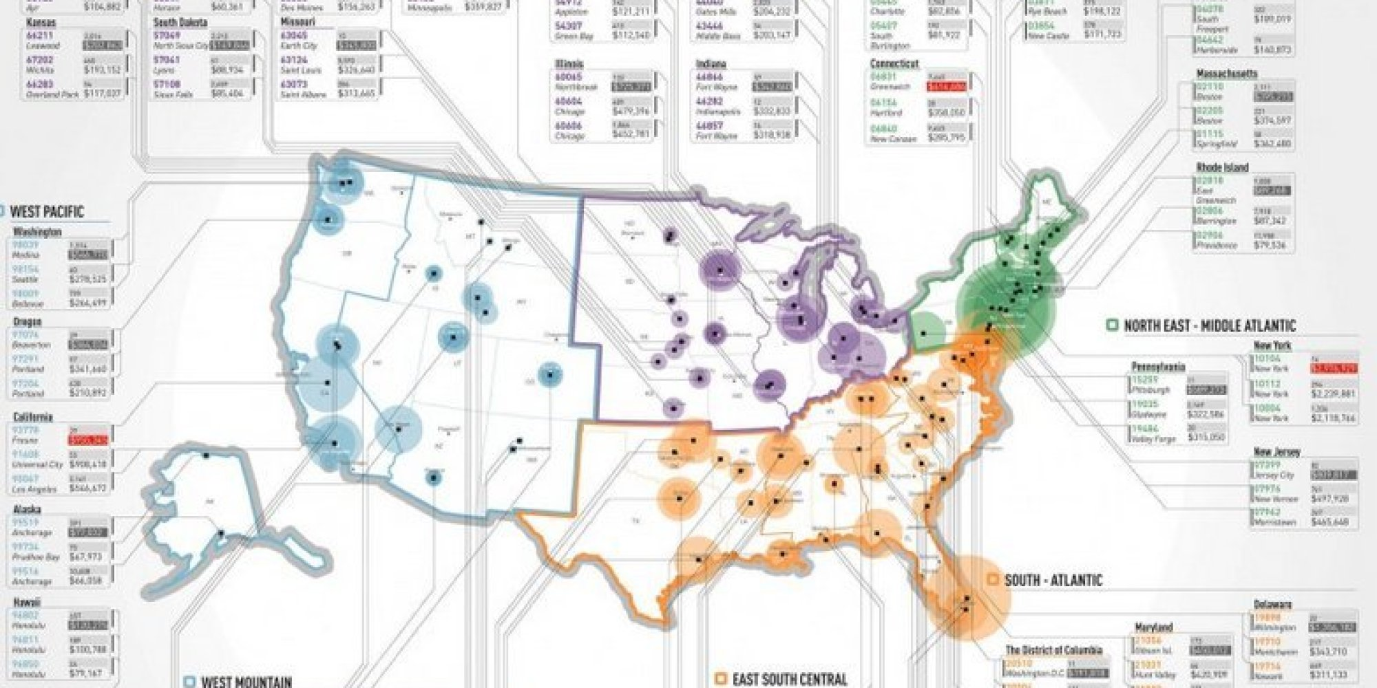 The Wealthiest Zip Codes In America In One Simple Map HuffPost - Income heat map us