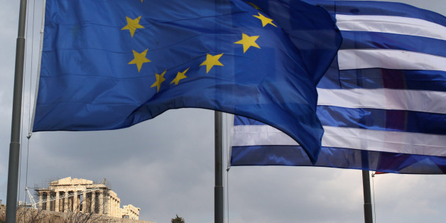 ATHENS, GREECE - FEBRUARY 17:  The EU and Greek flags fly in front of the Parthenon on the Acropolis on February 17, 2012 in Athens, Greece. Following a meeting on Wednesday, finance ministers across the Eurozone are calling for greater scrutiny and oversight of Greece's proposed budget cuts in order to approve the latest 130 billion euro bailout package. The package, which is anticipated to be finalised on February 20, 2012, is essential for Greece to avoid defaulting on a 14.5 billion euro bond it is due to repay in mid-March.  (Photo by Oli Scarff/Getty Images)