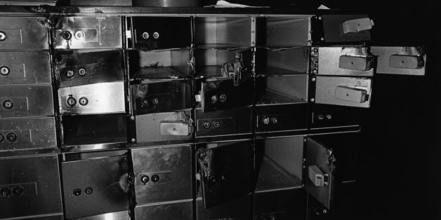 Damaged and empty safe deposit boxes following a robbery.   (Photo by Evening Standard/Getty Images)