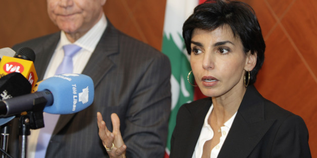 French Justice Minister Rachida Dati, right, speaks during a press conference with her Lebanese counterpart Ibrahim Najjar after a meeting in Beirut, Lebanon, Thursday, April 23, 2009. (AP Photo/Bilal Hussein)