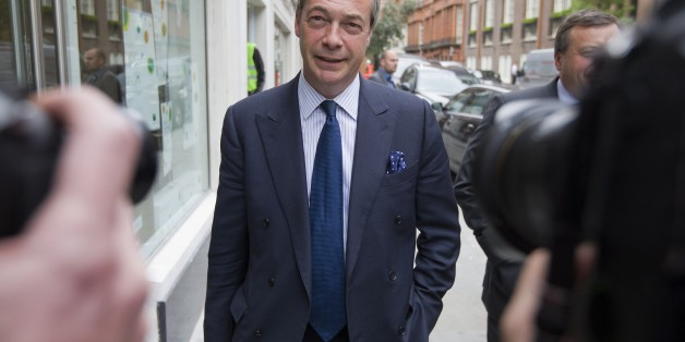 UK Independence Party (UKIP) leader Nigel Farage leaves the party's head office in central London on May 15, 2015. A week after an election in which it won the third-biggest share of the national vote but just one seat in parliament, Britain's UK Independence Party is tearing itself apart in spectacular fashion. First there was charismatic party leader Nigel Farage's short-lived resignation, then a big fallout over finances and on May 14 a stunning attack on him from the head of his election cam